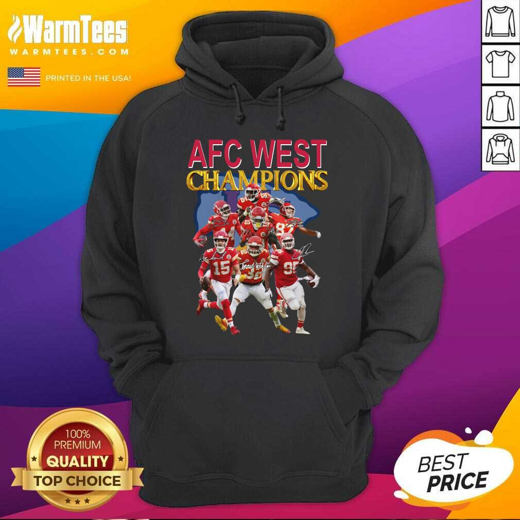 Kansas City Chiefs AFC West Champions Signatures Hoodie  - Design By Warmtees.com