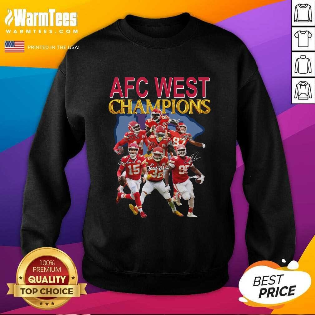 Kansas City Chiefs AFC West Champions Signatures SweatShirt  - Design By Warmtees.com