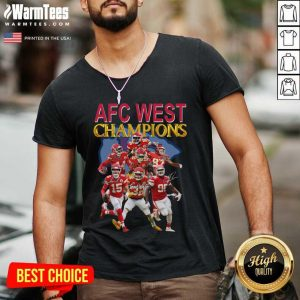 Kansas City Chiefs AFC West Champions Signatures V-neck - Design By Warmtees.com