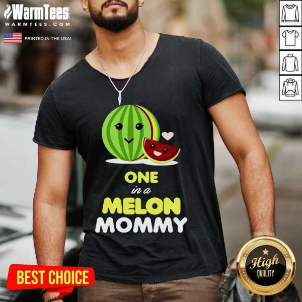 One In A Melon Mom Funny Fruit Watermelon Mom V-neck - Design By Warmtees.com