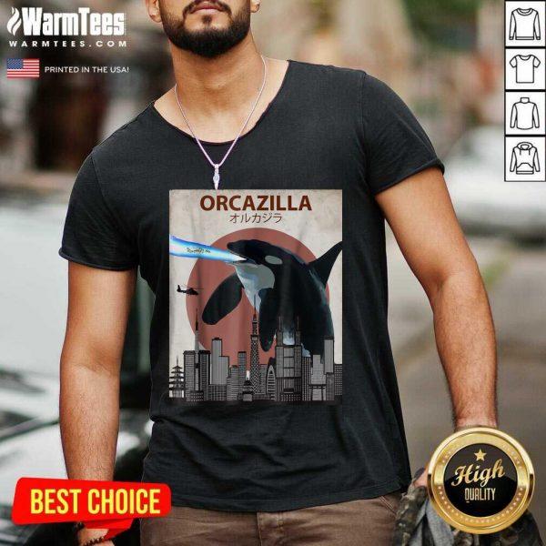 Orcazilla Killer Whale Orca Lovers V-neck - Design By Warmtees.com
