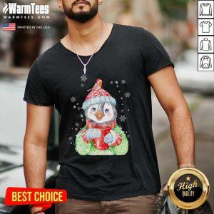 Penguin Warm Winter Christmas V-neck - Design By Warmtees.com