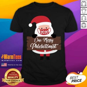 Santa Claus Face Mask 2020 One Merry Phlebotomist Christmas Shirt - Design By Warmtees.com