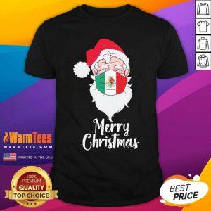 Santa Claus Face Mask Bandera De Mexico Flag Merry Christmas Shirt - Design By Warmtees.com