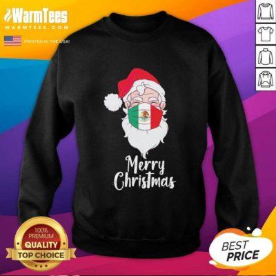 Santa Claus Face Mask Bandera De Mexico Flag Merry Christmas SweatShirt - Design By Warmtees.com