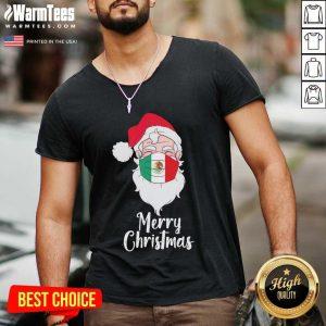 Santa Claus Face Mask Bandera De Mexico Flag Merry C - Design By Warmtees.comhristmas V-neck