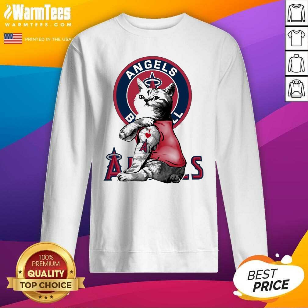 Tattoo Cat I Love Angels Baseball SweatShirt  - Design By Warmtees.com