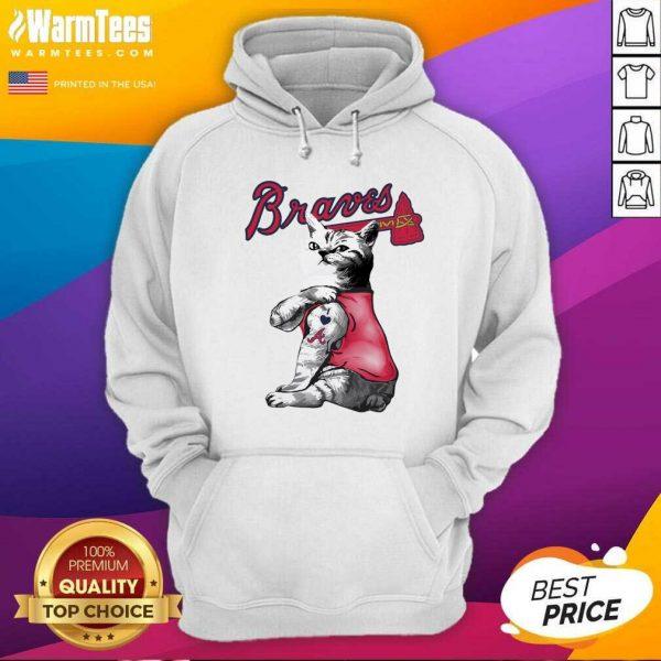 Tattoo Cat I Love Atlanta Braves Hoodie - Design By Warmtees.com