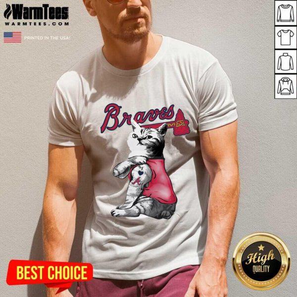 Tattoo Cat I Love Atlanta Braves V-neck - Design By Warmtees.com