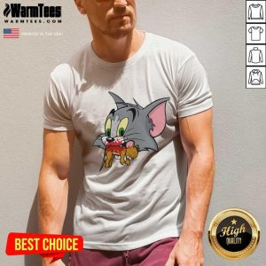 Tom Finally Catches Jerry V-neck - Design By Warmtees.com