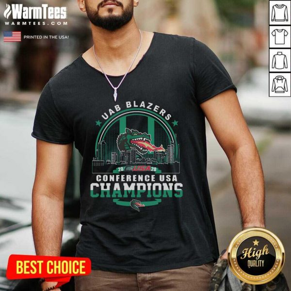 Uab Blazers C-USA 2020 Conference USA Champions V-neck - Design By Warmtees.com