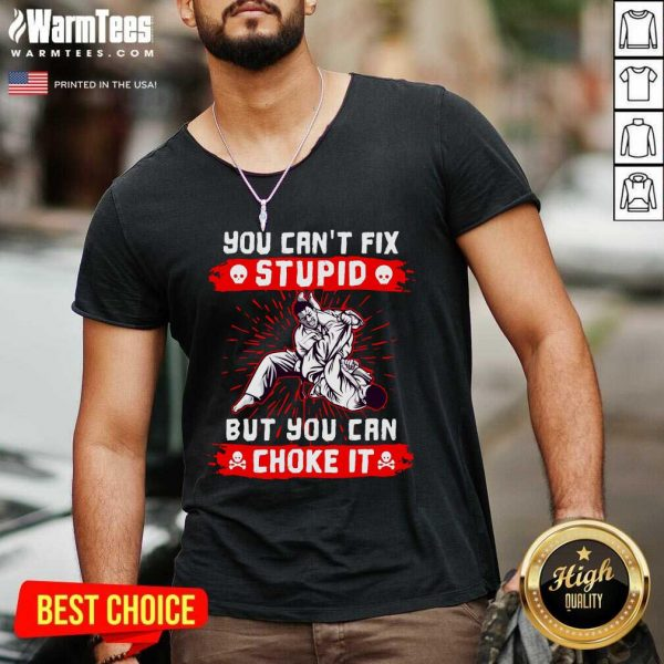 You Can't Fix Stupid But You Can Choke It V-neck - Design By Warmtees.com
