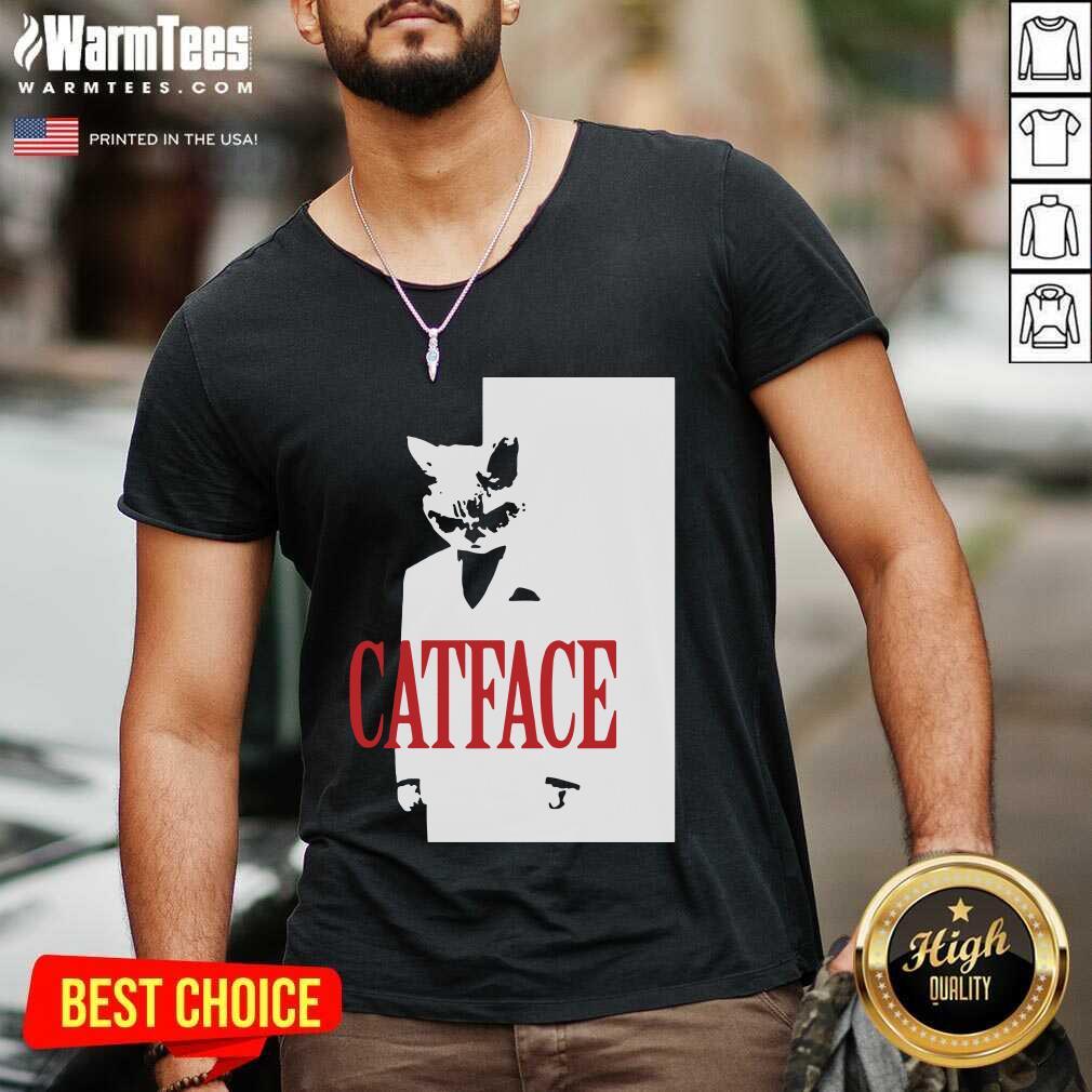 Cat Face V-neck  - Design By Warmtees.com