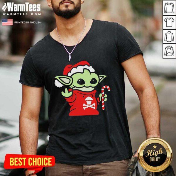 Santa Baby Yoda Christmas V-neck - Design By Warmtees.com