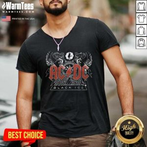 AC DC Rock And Roll Band Black Ice V-neck - Design By Warmtees.com
