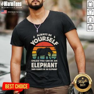 Always Be Yourself Unless You Can Be An Elephant Then Be An Elephant Vintage Sunset V-neck - Design By Warmtees.com