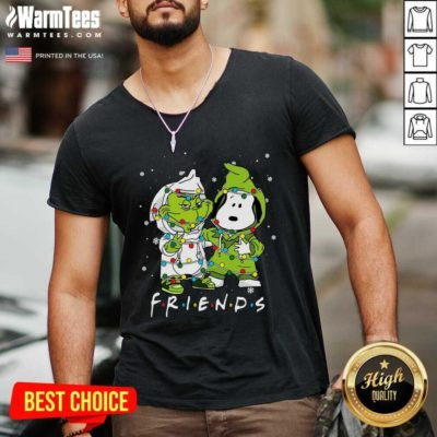 Baby Grinch And Snoopy Friends Merry Christmas Light V-neck - Design By Warmtees.com