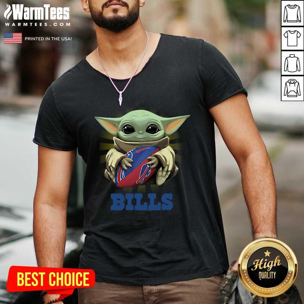 Baby Yoda Hug Buffalo Bills V-neck  - Design By Warmtees.com