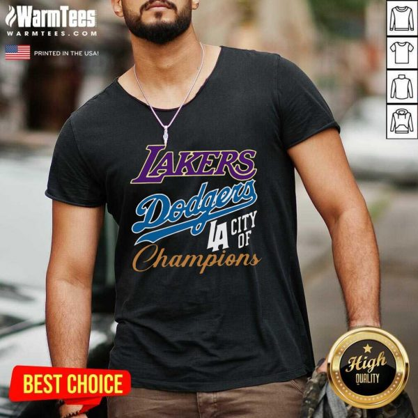 Los Angeles Laker Dodgers City Of Champions V-neck - Design By Warmtees.com