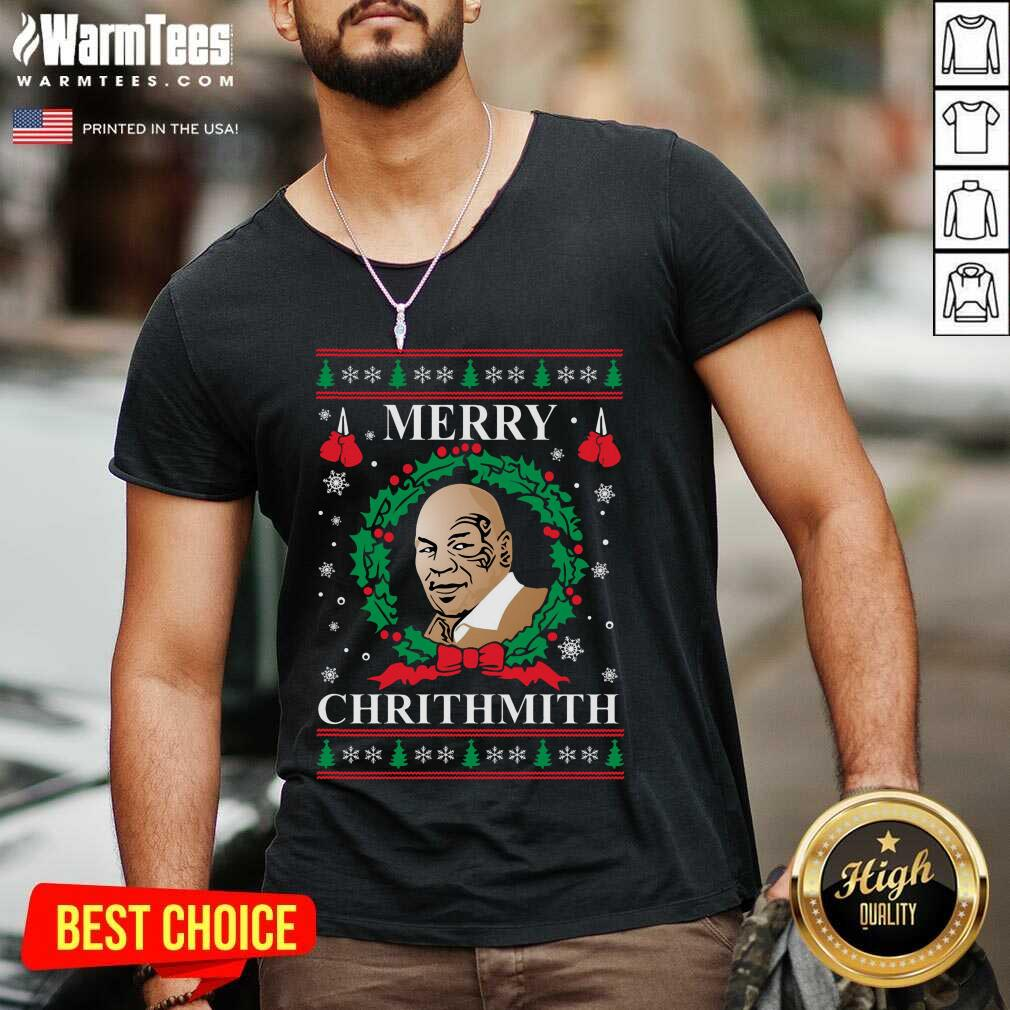 Mike Tyson Merry Chrithmith Ugly Christmas V-neck  - Design By Warmtees.com