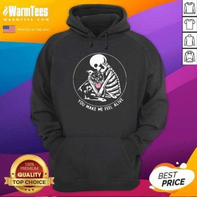 Funny Skeleton Hug Pitbull You Make Me Feel Alive Hoodie - Design By Warmtees.com