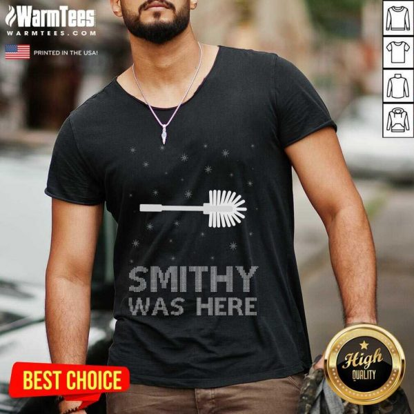 Smithy Was Here Ugly Christmas V-neck - Design By Warmtees.com