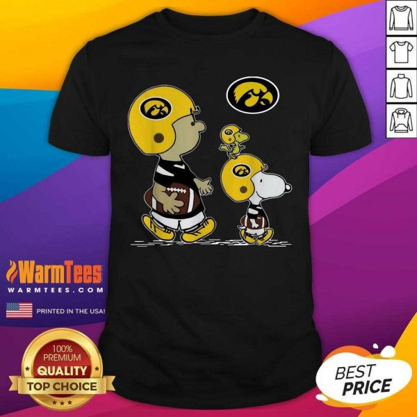 The Peanuts Charlie Brown And Snoopy Woodstock Iowa Hawkeyes Football Shirt - Design By Warmtees.com