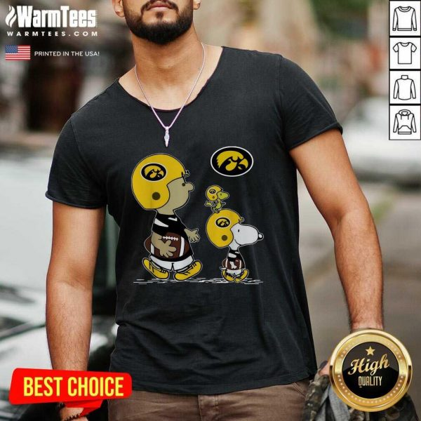 The Peanuts Charlie Brown And Snoopy Woodstock Iowa Hawkeyes Football V-neck - Design By Warmtees.com