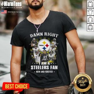 Damn Right I Am A Steelers Fan Now And Forever Signatures V-neck - Design By Warmtees.com