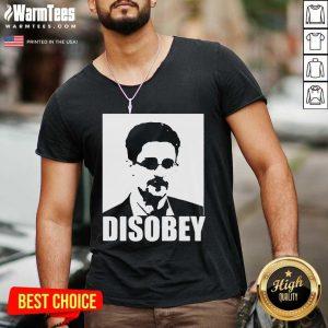 Edward Snowden Disobey V-neck - Design By Warmtees.com