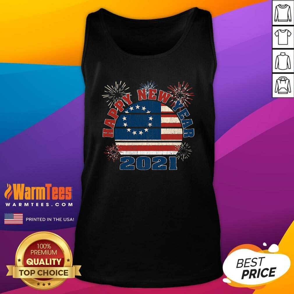 Happy New Year 2021 Vintage Betsy Ross Flag Fireworks Tank Top  - Design By Warmtees.com