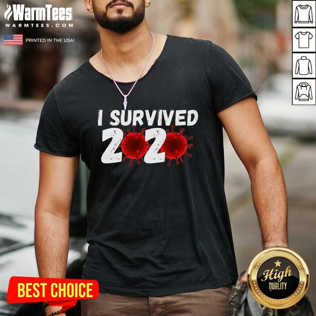 I Survived 2020 Coronavirus V-neck  - Design By Warmtees.com