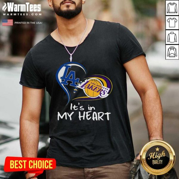 Los Angeles Raiders And Los Angeles Lakers It's In My Heart V-neck - Design By Warmtees.com