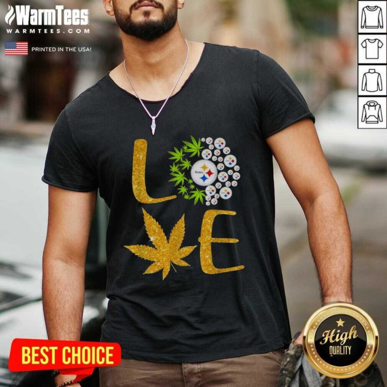 Love Steelers Cannabis Football V-neck - Design By Warmtees.com