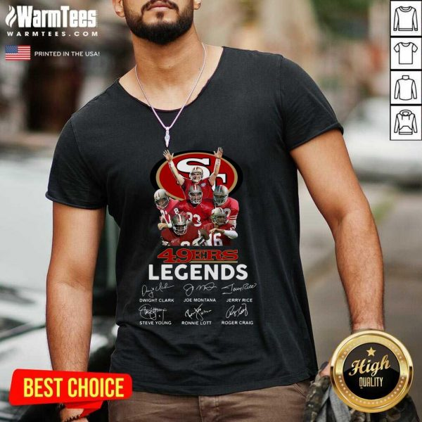 San Francisco 49ers Legends Signatures V-neck - Design By Warmtees.com