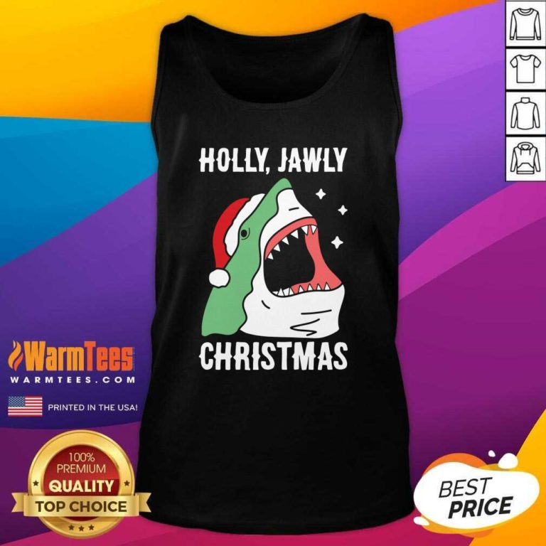 Shark Holly Jawly Christmas Tank Top - Design By Warmtees.com