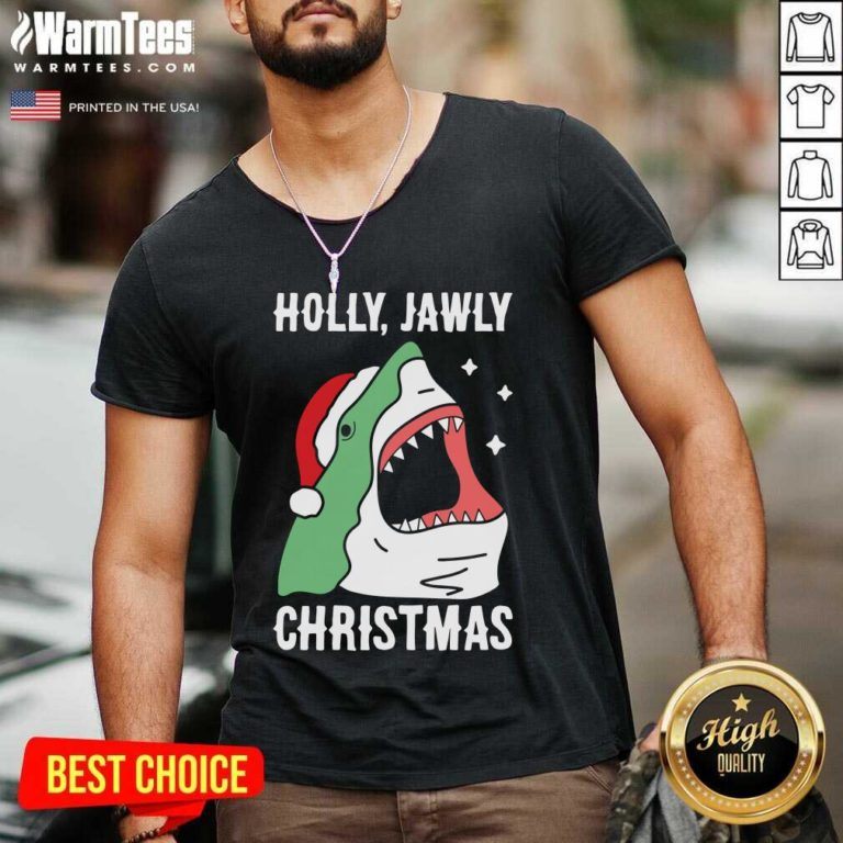 Shark Holly Jawly Christmas V-neck - Design By Warmtees.com