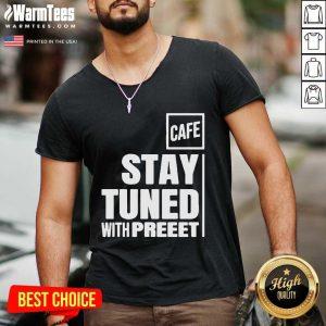 Stay Tuned Shop Cafe V-neck - Design By Warmtees.com