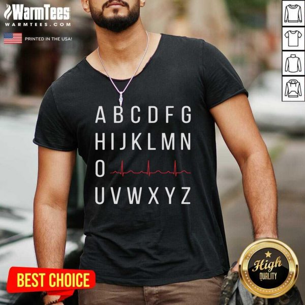 A B C D E F G H I J K L M N O Heartbeat U V W X Y Z Nurse V-neck - Design By Warmtees.com