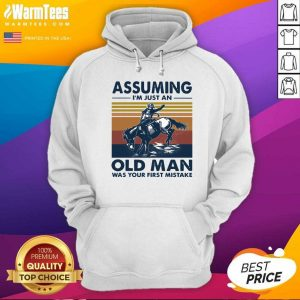 Assuming I'm Just An Old Man Was Your First Mistake Riding Horse Vintage Hoodie - Design By Warmtees.com