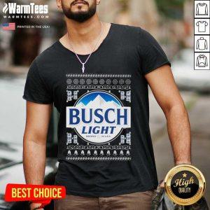Busch Light 2020 Ugly Christmas V-neck - Design By Warmtees.com