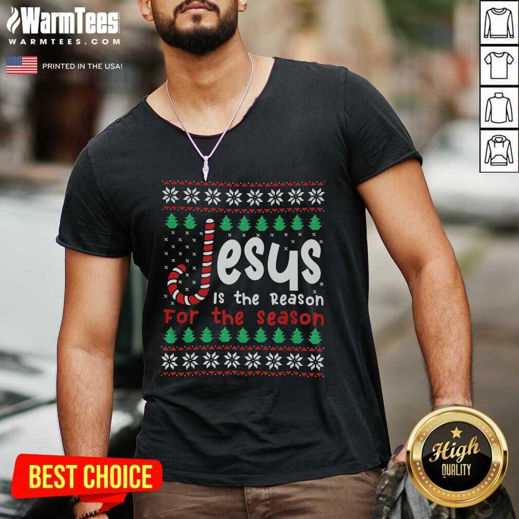 Jesus Is The Reason For The Season Ugly Christmas V-neck  - Design By Warmtees.com