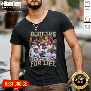 Los Angeles Dodgers Baseball For Life Signatures V-neck - Design By Warmtees.com