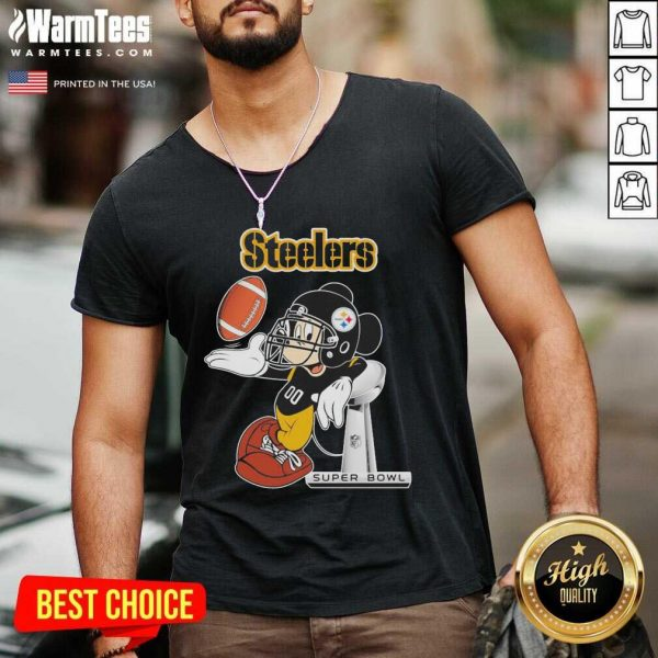 Mickey Mouse Pittsburgh Steelers Super Bowl V-neck - Design By Warmtees.com