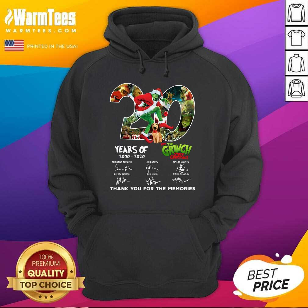 20 Years How The Grinch Stole Christmas Thank You For The Memories Signatures Hoodie  - Design By Warmtees.com