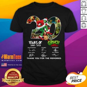 20 Years How The Grinch Stole Christmas Thank You For The Memories Signatures Shirt - Design By Warmtees.com