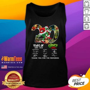 20 Years How The Grinch Stole Christmas Thank You For The Memories Signatures Tank Top - Design By Warmtees.com