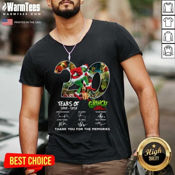 20 Years How The Grinch Stole Christmas Thank You For The Memories Signatures V-neck - Design By Warmtees.com