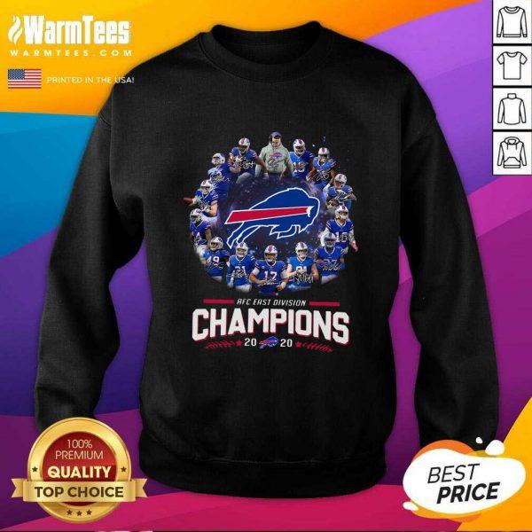 Buffalo Bills AFC East Division Champions 2021 Signatures SweatShirt - Design By Warmtees.com