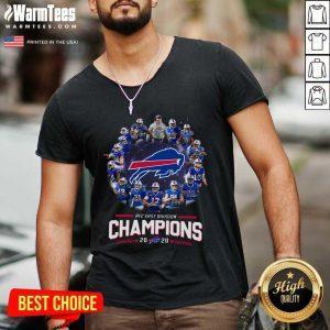 Buffalo Bills AFC East Division Champions 2021 Signatures V-neck - Design By Warmtees.com